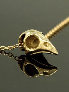 Tiny Bird Skull Necklace