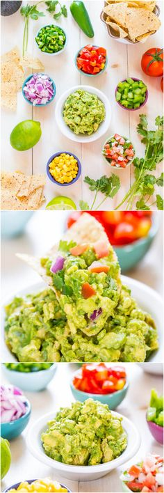 Do-It-Yourself Guacamole Bar - Make your own guacamole bar and have fun taste-testing the options! Great party idea that everyone loves! @averie