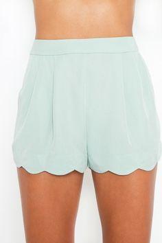 Minty Scallop Shorts