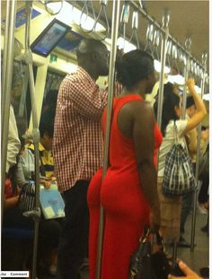 Creative way to hold on if you are on a subway.