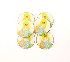 5 Easter Chick and Easter Egg Handmade Buttons.  by buttonsbyrobin, $9.99 egg handmad, easter eggs
