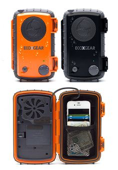 Waterproof iphone case w/ speaker and rechargeable battery. Sounds perfect for a float trip. Oh yeah, that reminds me, it floats too. @WillandJess2015