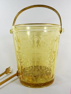 Vintage Rare Depression Glass Ice Bucket by TheVintageRoad2Retro, $128.00