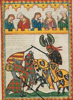 Blog about illuminated manuscripts. Very interesting reading.Pic = 4th century (ca. 1300-1340) Switzerland - Zürich Heidelberg, Ruprecht-Karls-Universität, Universitätsbibliothek Cod. Pal. germ. 848: Große Heidelberger Liederhandschrift = Codex Manesse fol. 52r - Herr Walther von Klingen http://digi.ub.uni-heidelberg.de/diglit/cpg848 A scene of knightly jousting. Held (poss) at the University of Heidelberg. Tumblr: http://illumanu.tumblr.com/post/29199008071/14th-century-ca-1300-1340-switzerland