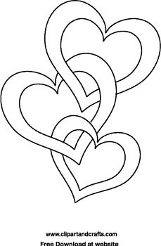 Wedding or Valentine design for crafts and coloring: 3 joined hearts