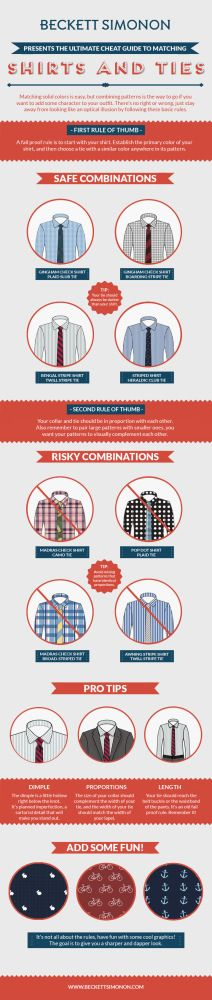 The easiest guide for matching shirts and ties.