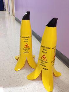 Banana peel wet floor signs