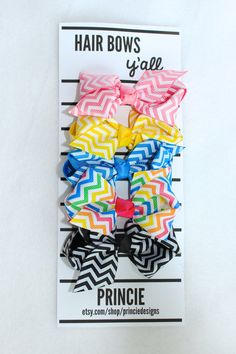 Chevron Rainbow hair bow clips for babies