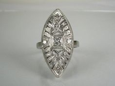 Navette Style Diamond Cocktail Engagement Ring  0.30 Carat, $585.00