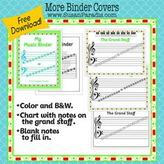 Grand Staff Binder Covers and Using Binders in Music Lessons