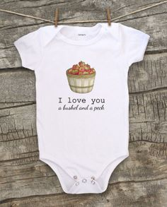 "Adorable ""I Love You a Bushel and a Peck"" bodysuit by WatercolorZoo, $19.99"