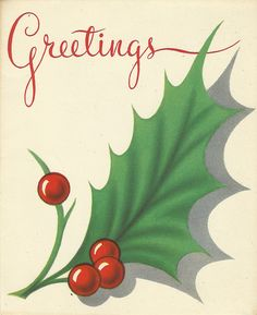 Christmas holly and lettering