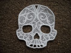 Freestanding Lace Skull Scroll Ornament Gift Tag by designsbydayzi, $5.00