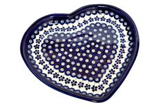 Blue Rose Polish Pottery: Flowering Peacock Heart Plate