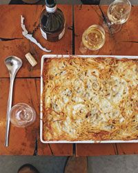 Baked Four-Cheese Spaghetti | A variation of macaroni and cheese, this intensely cheesy baked pasta dish is supremely satisfying.