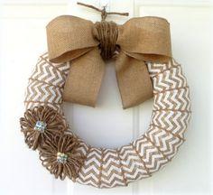 Chevron Burlap Wreath  Everyday Wreath  by WeddingsAndWreaths, $38.50