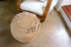 Cool idea for a handmade DIY pouf from an old coffee sack. #Apartment Therapy