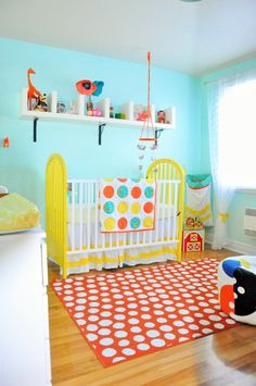Orange and White Polka Dot Rug in #Nursery