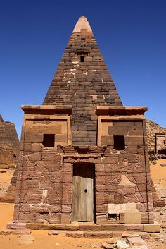 The Meroe Pyramids.    The Meroe Pyramids are located in the North-East of Sudan near the banks of the Nile in the area commonly known as Nubia. There are close to two hundred pyramids in a relatively small area, the ancient burial site of the Merotic Kingdom (sometimes known as the Kingdom of Kush). The Pyramids are smaller than their Egyptian cousins but equally impressive due to their number