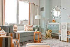 orang, kid rooms, beauti nurseri, bold colors, sooth color, curtain