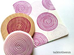Could do this with plasticene clay coils and let the kids print them, overlapping, in analogous color scheme.  circle rubber stamp. designed and hand carved by talktothesun. available at www.talktothesun.etsy.com