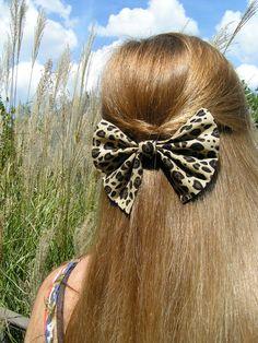Big Cheetah Hair bow for teens and women, Hair Clip, Accessory. $7.99, via Etsy.