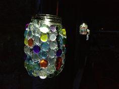 Bedazzled mason jar solar lights.