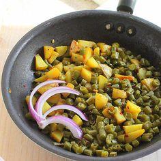Green beans and potatoes (Barbati Aloo subzi). Mom's recipe. and TG ideas. Vegan, glutenfree | Vegan Richa