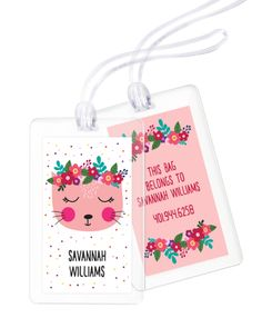 Personalized Floral Kitty Luggage Tags