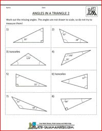 Angles in  a Triangle, geometry math worksheets 5th grade