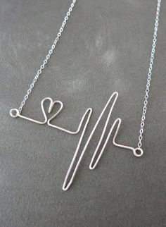 Heartbeat Necklace Sterling Silver Wired hand