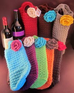 gift bags, craft, gift ideas, crochet gifts, wine holders, wine bottles, crochet patterns, diy projects, wine bags