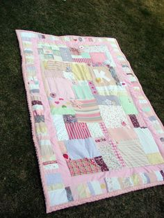 Quilt made from favorite baby outfits - material & trims - from A girl and a glue gun