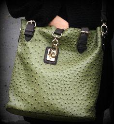 Amazon.com: Liz Soto Ostrich 2 in 1 Tote Handbag (Olive): Clothing