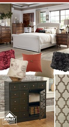 Rich reds + creams for the master bedroom! (Burkesville Bed - Ashley Furniture HomeStore)