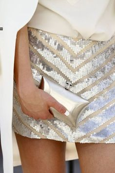 Silver sequin skirt is hot and cool at the same time.