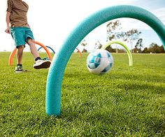 Pool noodle soccer game.