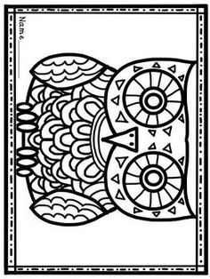 owl card to color