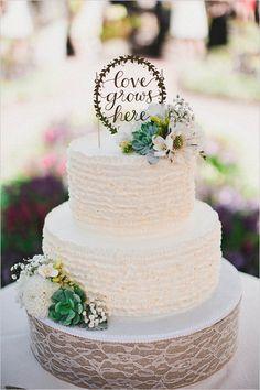 love grows here wedding cake