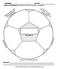 Organizador grafico con forma de balón de fútbol.