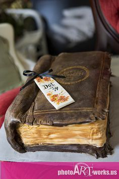 grooms old book cake
