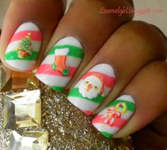 Striped Christmas nails