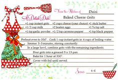 printable recipe - baked cheese grits