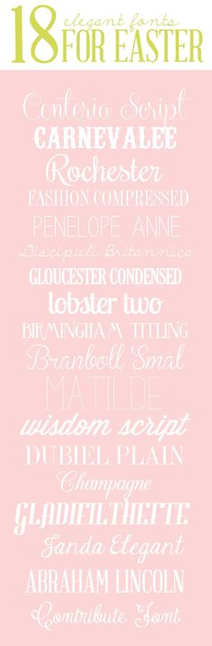 simple as that: Eighteen Elegant Fonts for Easter