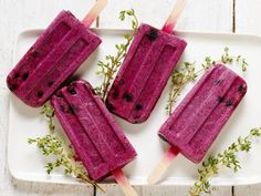 Cool down this summer with some Blueberry, Thyme and Sweet Cream Ice Pops.