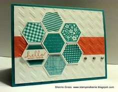 handmade card from Stampin Sunshine ... teal, vanilla and orange ... luv the hexagon quilt flower with the sentiment anchoring it at the side ... great layout ...  Stampin' Up!