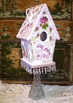 Mosaic Pedestal Birdhouse with Vintage China via Etsy