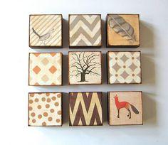 Art Block 5×5 Nine 9 Set Nature and Pattern Collection neutral gray beige brown rust orange