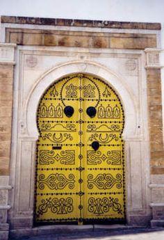 doors, dream, tunisian door, yellow door, golden door, gate