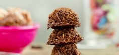 Mocha Coconut Chocolate Dipped Macaroons - a stack of perfection.